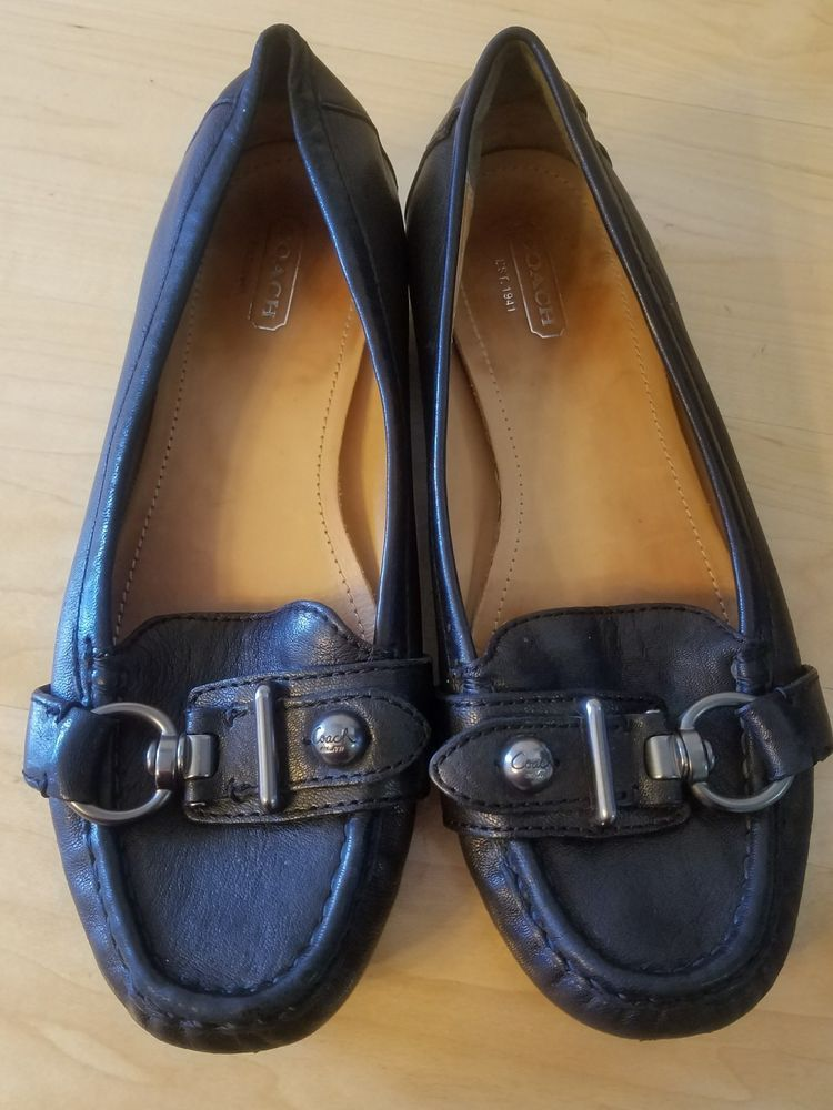 cebacc55785 Coach Size 7.5 Women s Black Leather  Elkie  Loafer Flats Shoes Buckle