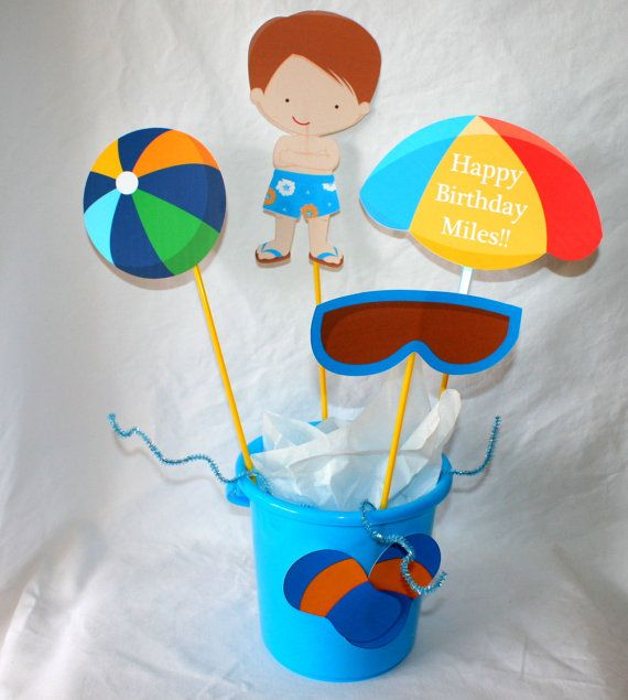 Pool Party Centerpiece Ideas pool home decor for party Pool Party Centerpiece Comes In A Blue Sand By Yourcreativeparty