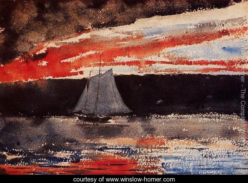 Schooner at Sunset - Winslow Homer - www.winslow-homer.com