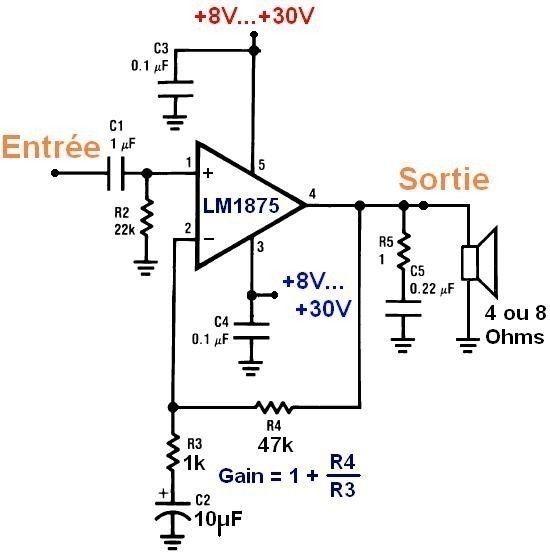 conception d ampli a lm1875 1x 20w 0