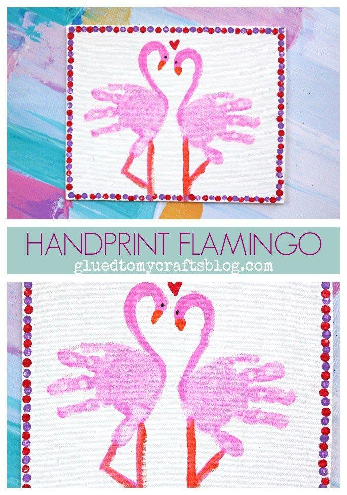 Handprint Flamingo Canvas #grandparentsdaycraftsforpreschoolers