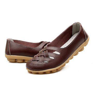 cacd715ea7034 Tamaño Grande Blandos Transpirables Slip On Ahuecados Planos Zapatos. Big  Size Soft Breathabel Slip On Hollow Out Flat Shoes