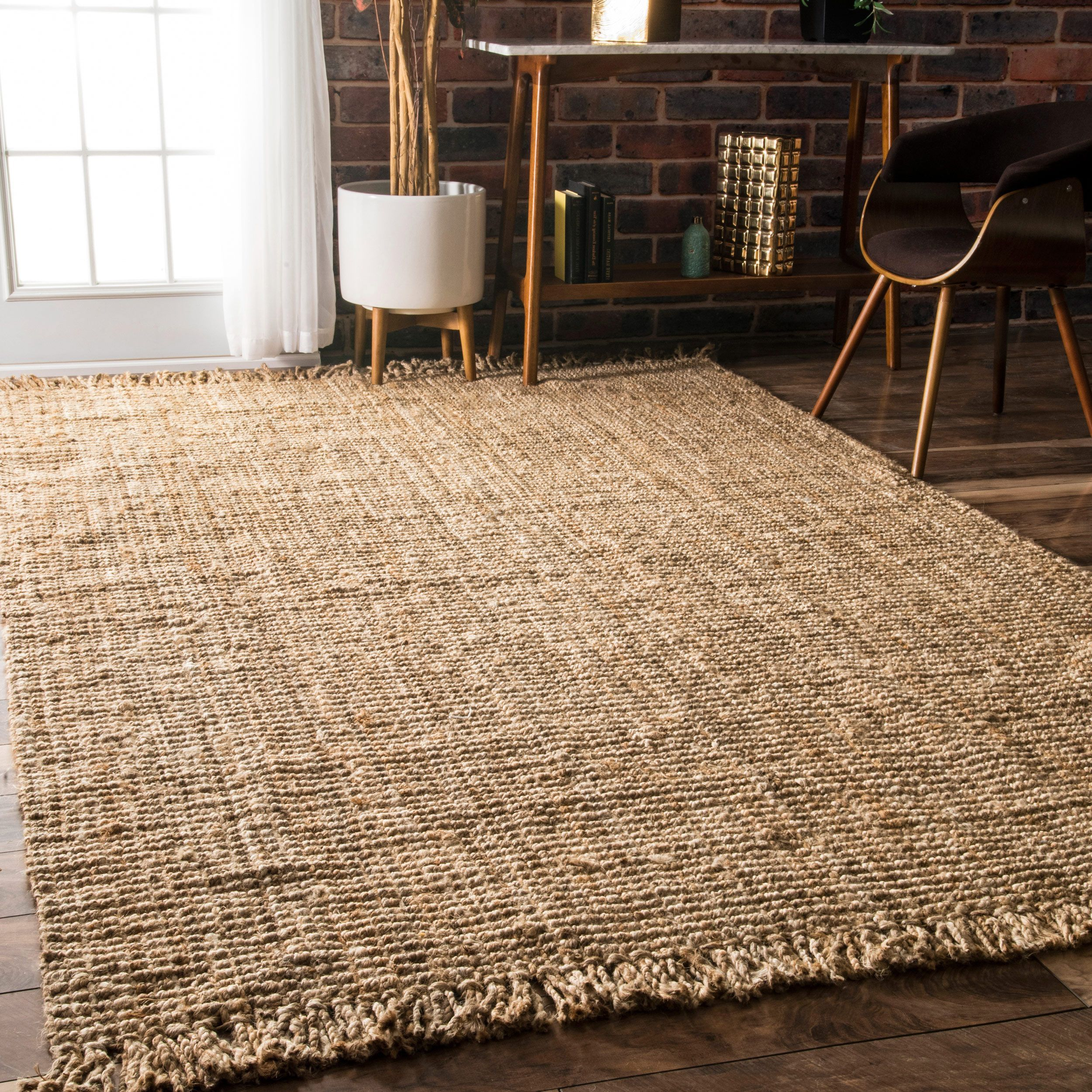 Nuloom Handmade Eco Natural Fiber Chunky Loop Jute Rug 7 6 X 9 Brown
