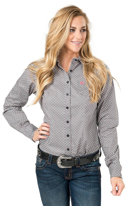 Cinch Women's Grey Diamond Print Long Sleeve Western Shirt ...
