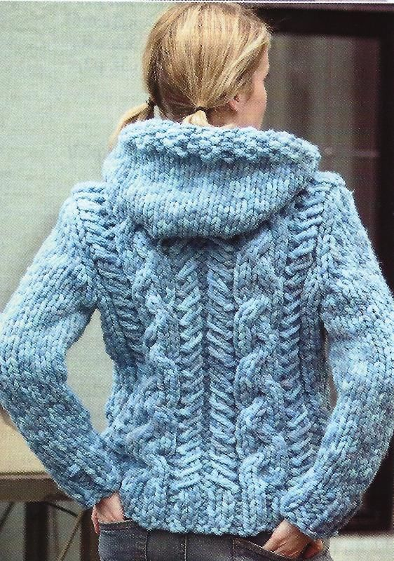 Ladies Super Chunky Cabled Cardigan Jacket Knitting Pattern 30 44