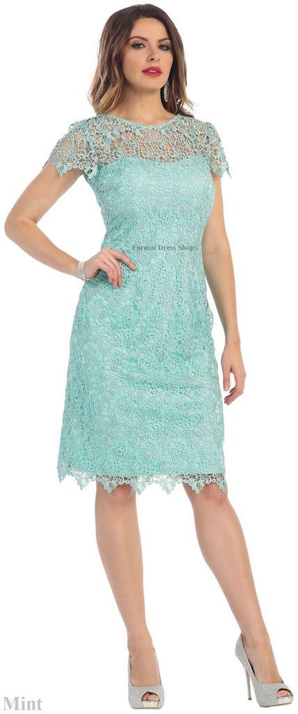 Designer MOTHER OF THE BRIDE GROOM SHORT LACE DRESS SEMI FORMAL ...