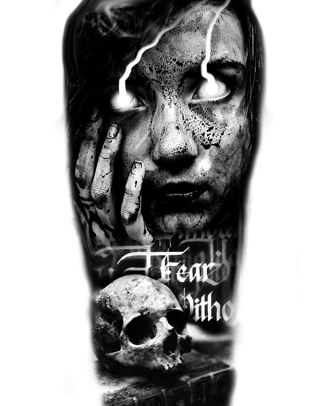 Black And Grey Tattoo Stencil: Design Ready For Tattoo #realistictattoo #blackandgrey