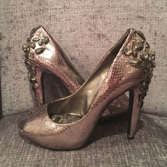 "Sam Edelman Boutique Peep Toe Stilettos Pewter color. Size 7. Leather outsole, 4"" stiletto heel, very good condition- all stones in tact except for one missing on the back of the left shoe. Sam Edelman boutique brand. Sam Edelman Shoes Heels"
