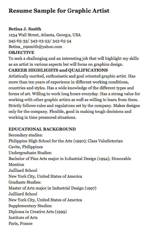 Undergraduate Resume Sample Resume Sample For Graphic Artist Here Is A Great Sample Of Resume .