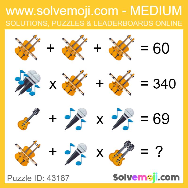Solvemoji Emoji Math Puzzle 30480 in 2020 Emoji math