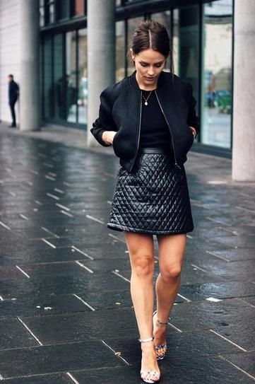 9e2b1a722e1 How to Style a Black T-Shirt  Pair your black t-shirt with a leather mini  skirt for a night out! Let your legs be the star of the show.