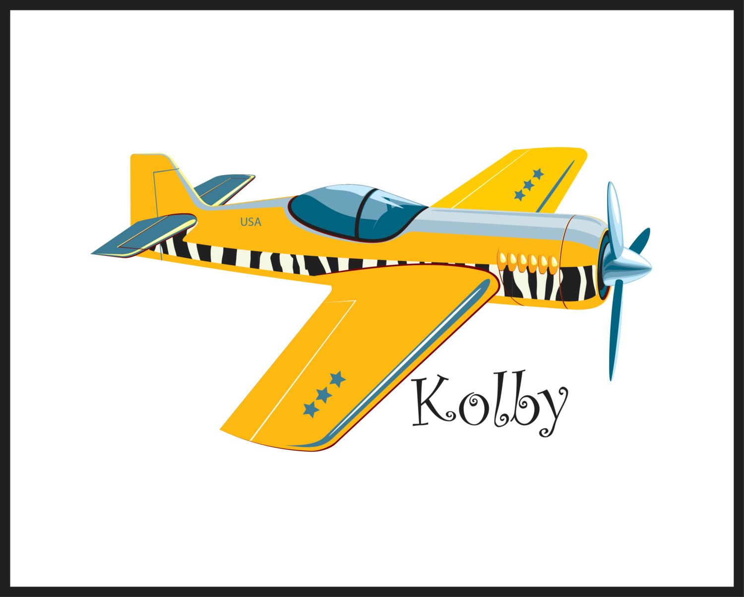 Childrens Airplane Art Print For Boys Personalized Kids Wall Yellow Black Aviation Prints Room Decor 14 00 Via Etsy
