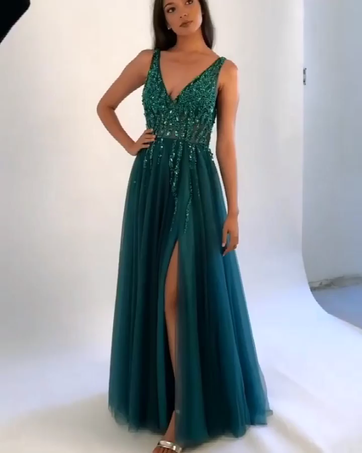 Green Prom Dress with Slit, Prom Dresses, Graduation School Party Gown -   15 dress Graduation green ideas