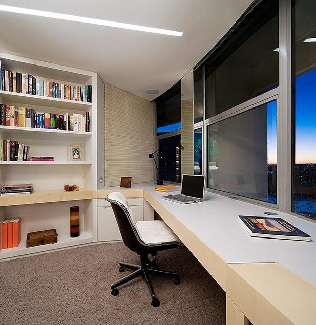 elegant modern home office furniture. Modern Home Offices: Stunning Nice Apartment Office Design Ideas With View And Bookcase Elegant Desk For Furniture