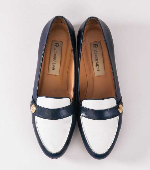 b86f04eb909 Vintage Etienne Aigner Loafers  80s Designer Shoes Navy Blue   White ...