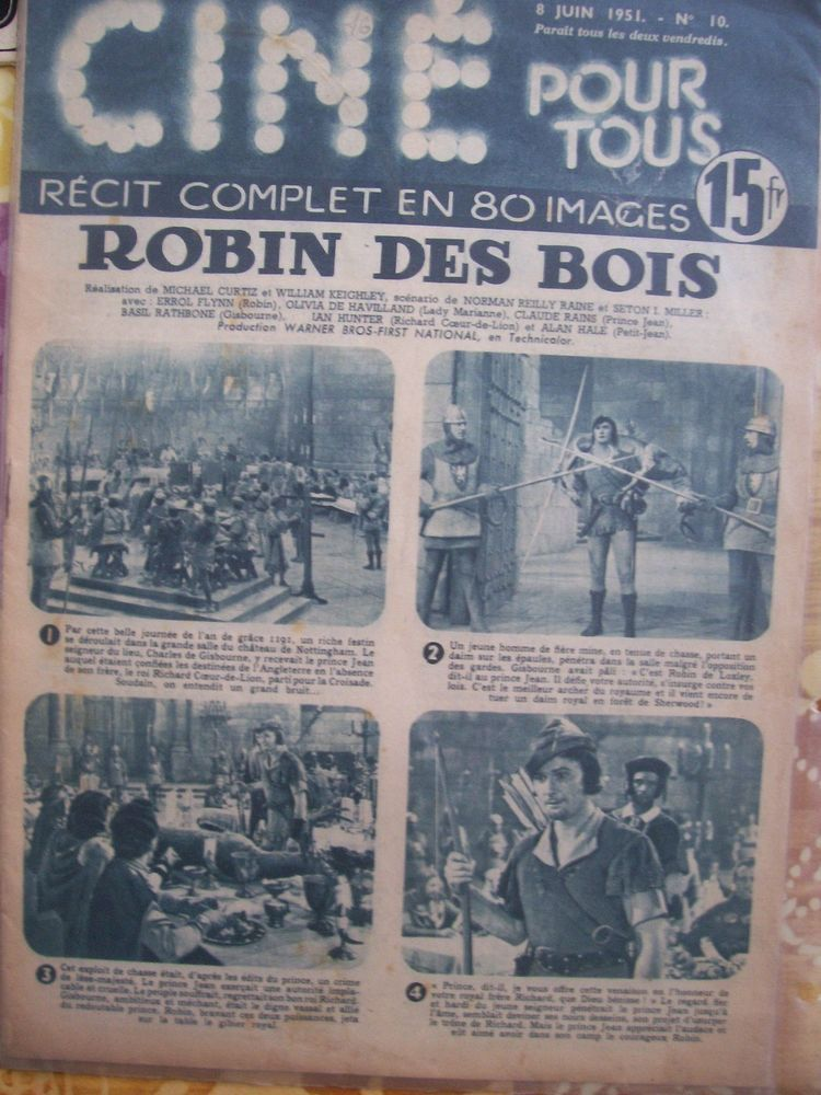 ROBIN HOOD ERROL FLYNN 1950  FRENCH MAGAZINE