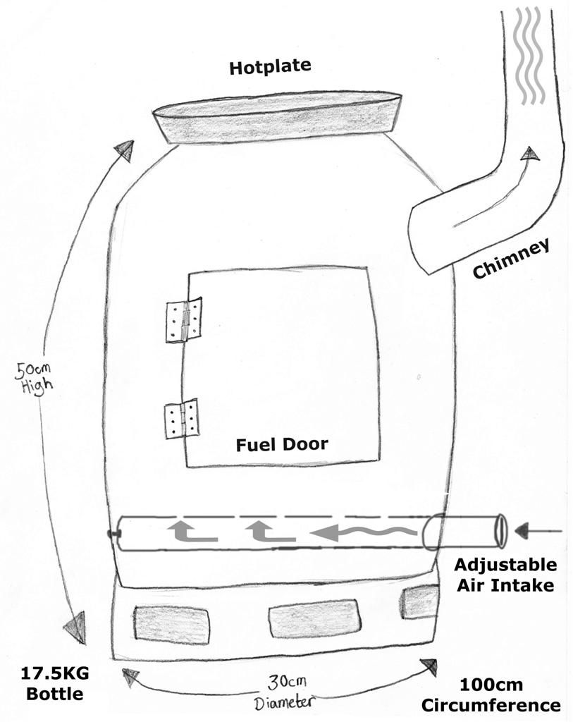gas bottle wood burner pencil drawing diagram stove plan [ 813 x 1024 Pixel ]