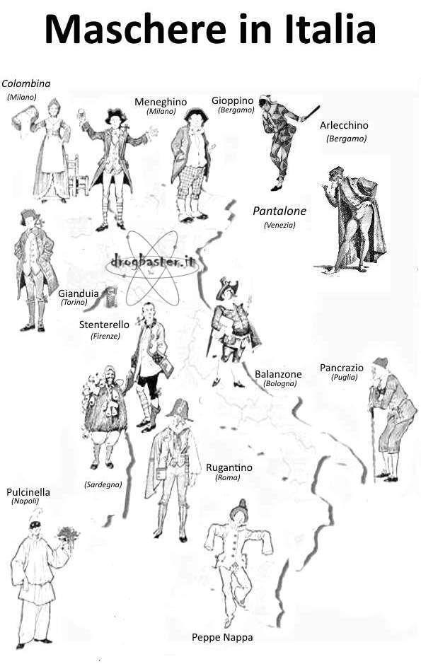 Disegni dei personaggi del carnevale da stampare e for Maschere di carnevale tradizionali da colorare per bambini da stampare
