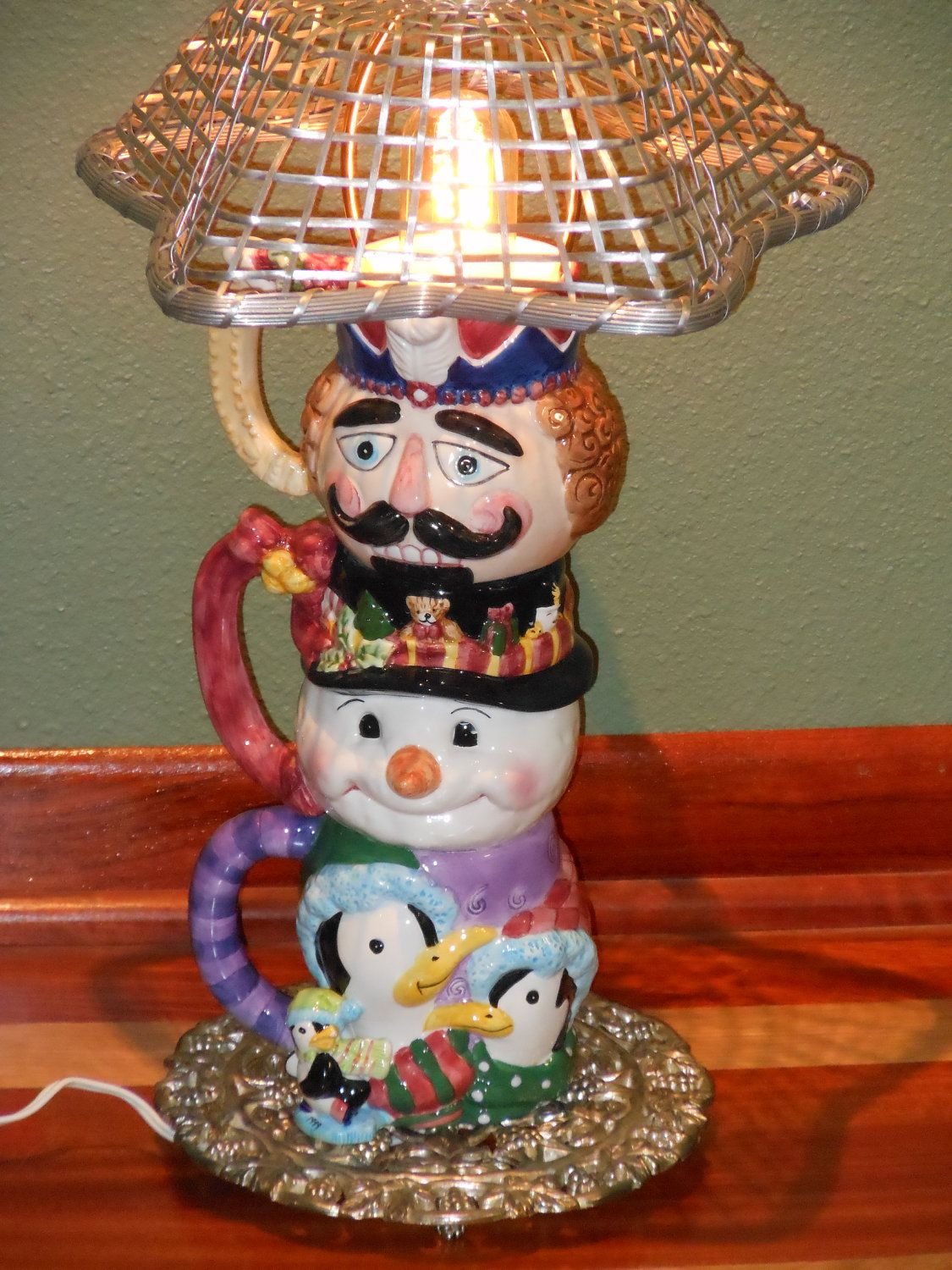 Whimsical lamp perfect for a childs room. $60.00, via Etsy. #lamp, #repurposed lamp, #Childs lamp, #kids room, #kids lamp