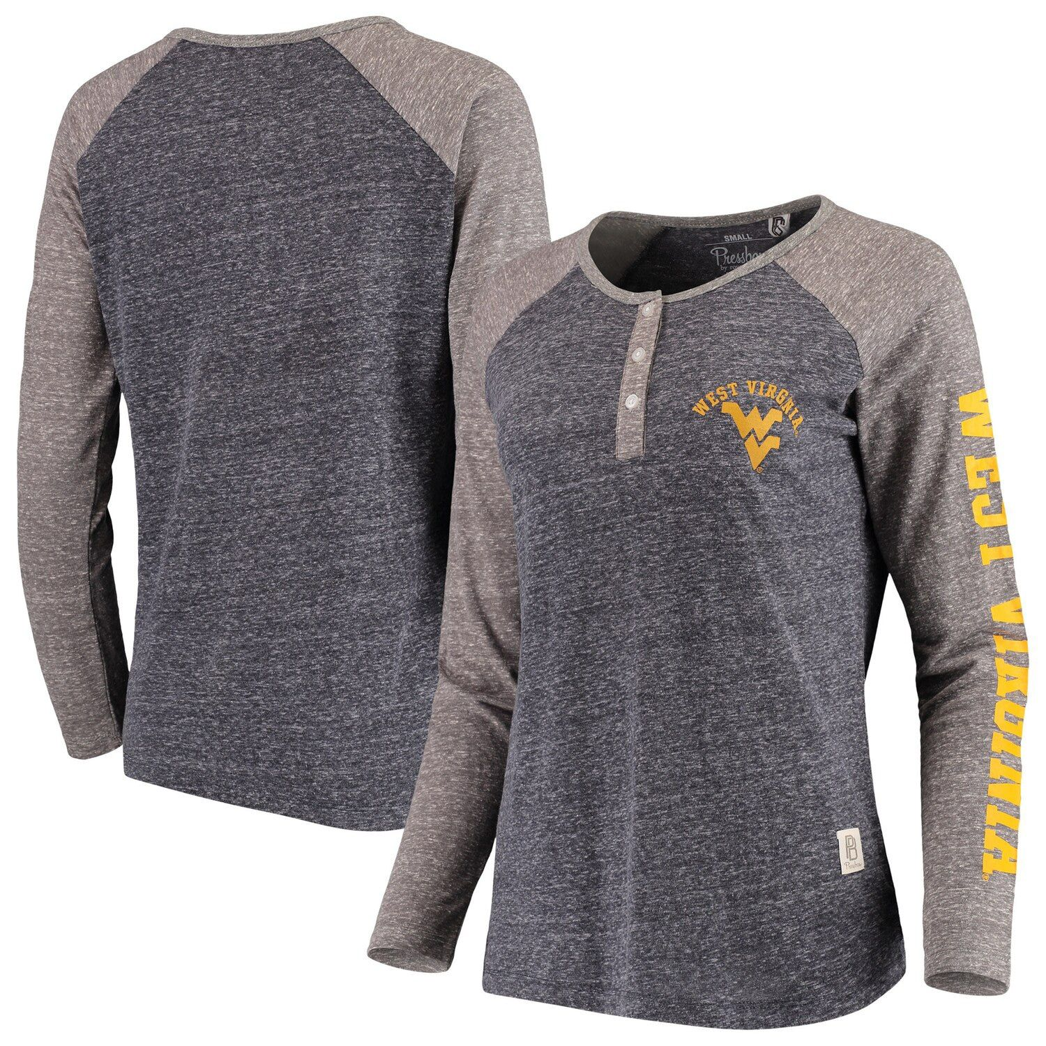 Women's Pressbox Navy West Virginia Mountaineers Avery Knobi Raglan Henley Tri-Blend Long Sleeve T-Shirt #westvirginia