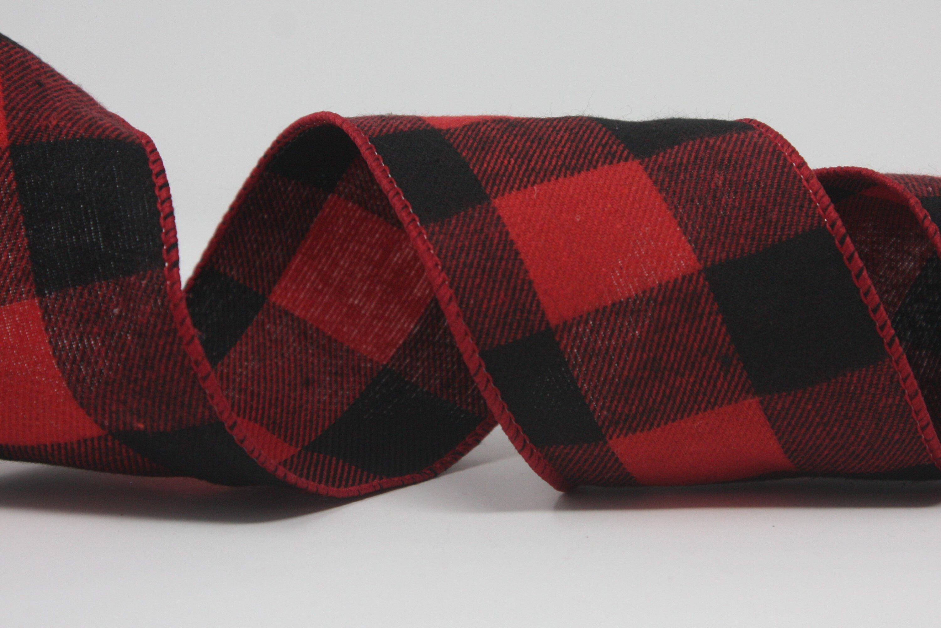 """Red Black Buffalo Plaid Wired Ribbon 2 1//2/"""" 10 Yards Farmhouse Country"""