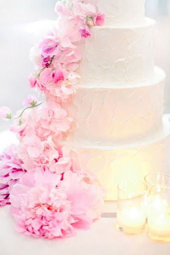 Elegant pink floral wedding cake pinterest buttercream wedding real flowers on buttercream wedding cake would look gorgeous with peonies mightylinksfo