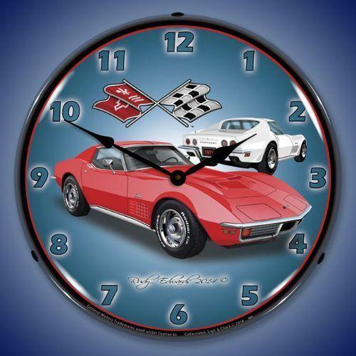 1971 Red Corvette Stingray Led Backlit Clock Corvette Corvette Stingray Corvette Clock