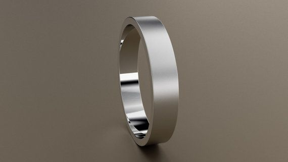 10kt White Gold 4mm Mens Brushed Flat Wedding Band Matte Etsy Silver Wedding Bands Wedding Bands Mens Wedding Rings