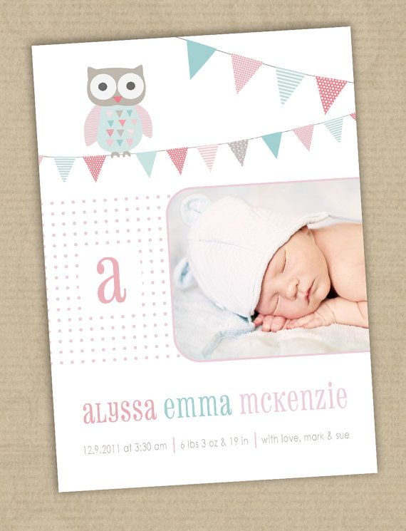 Photo Birth Announcement Cards. Owl & bunting.