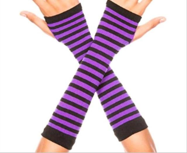 Photo of Anime Gloves Cosplay Dark Ninja Armband – black purple / One Size