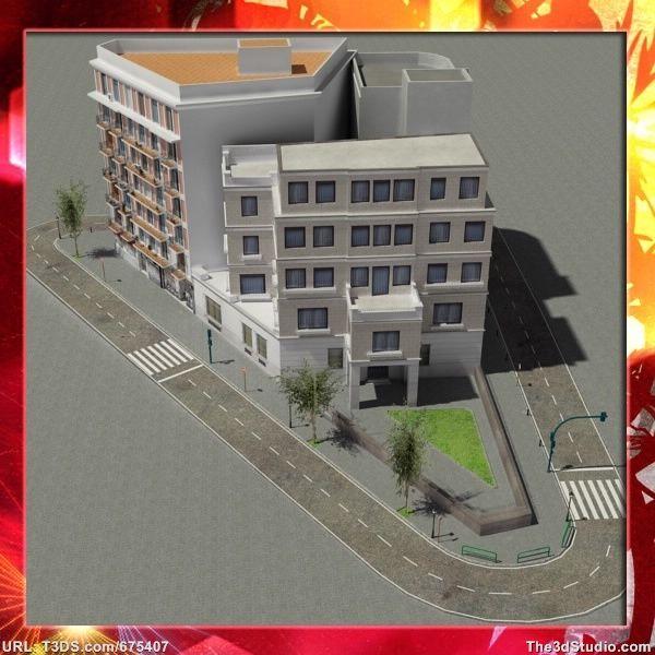 3d models European City Block 02
