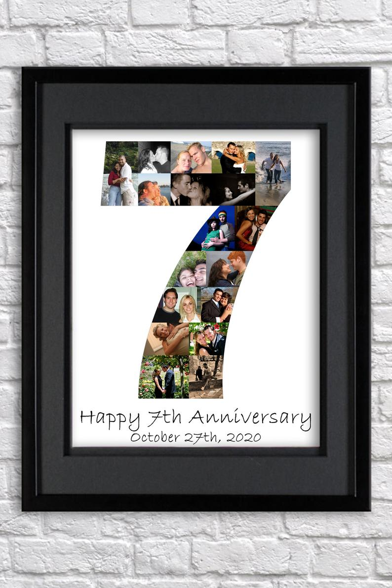 Personalised 7th Birthday Gift 7th Anniversary Word Art Gift Add Your Words