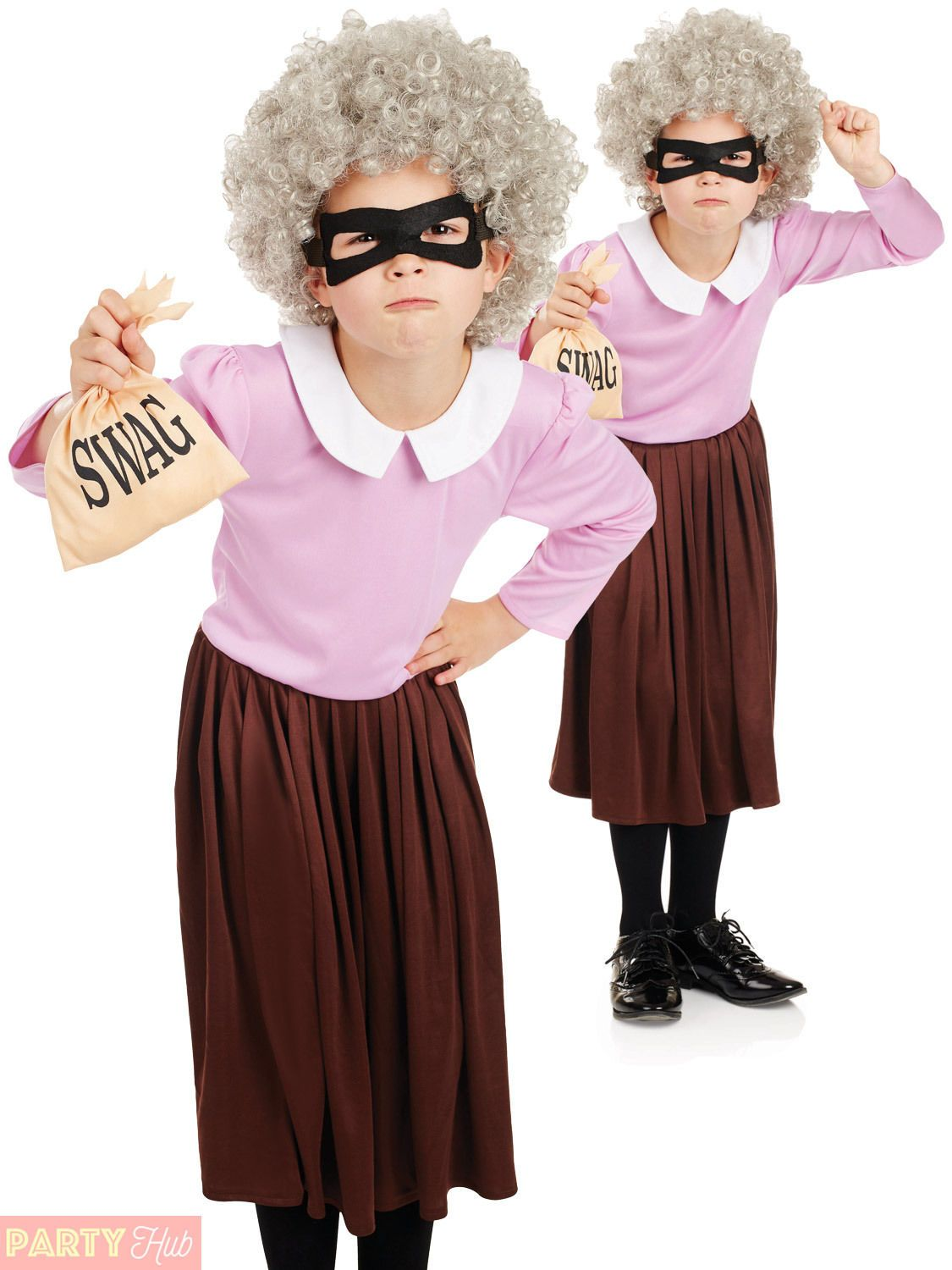Girls Kids Childs Burglar Gangster Granny Fancy Dress Costume Book Day WIG