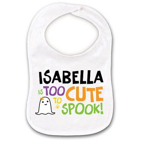 Name 1st Halloween Ghost Embroidered Baby Bandana Dribble Bib Gift Personalised