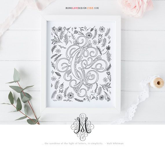 Instant Download Printable Coloring Page Floral Monogram Letter C