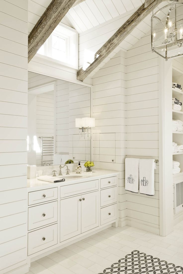 all white, sophisticated, shiplap, exposed beams @collinsinteriors ...
