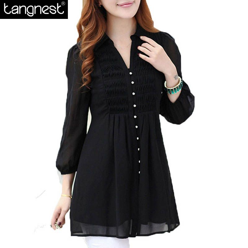 3736528f2b3 блузки блузка рубашки женские рубашка женская 2015 женщин свободного покроя  длинные шифон блузки 6XL Большой размер широкий офис рубашка топы горячая  ...