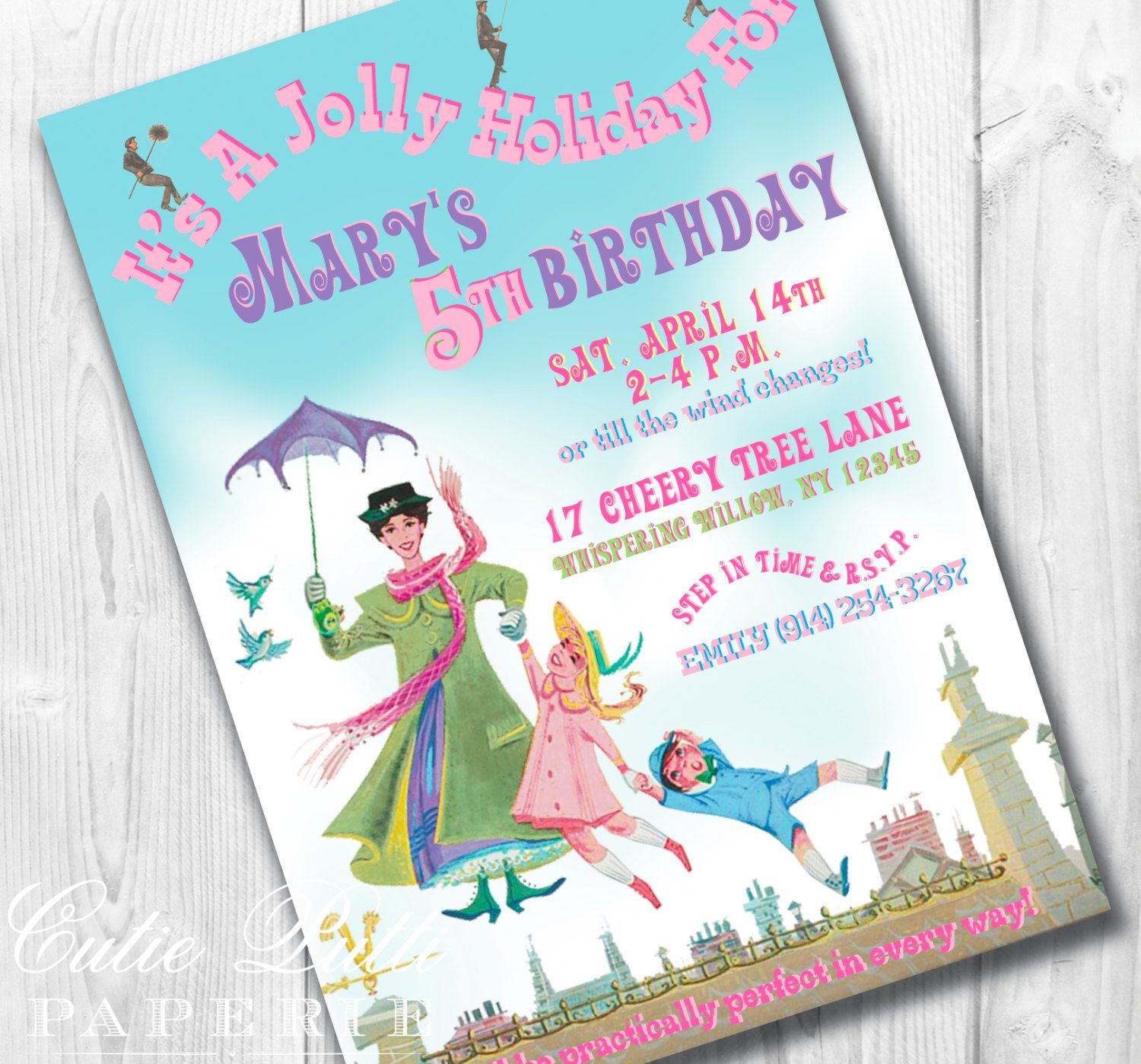 Mary Poppins Vintage Party - PRINTABLE CUSTOMIZED INVITATION ...