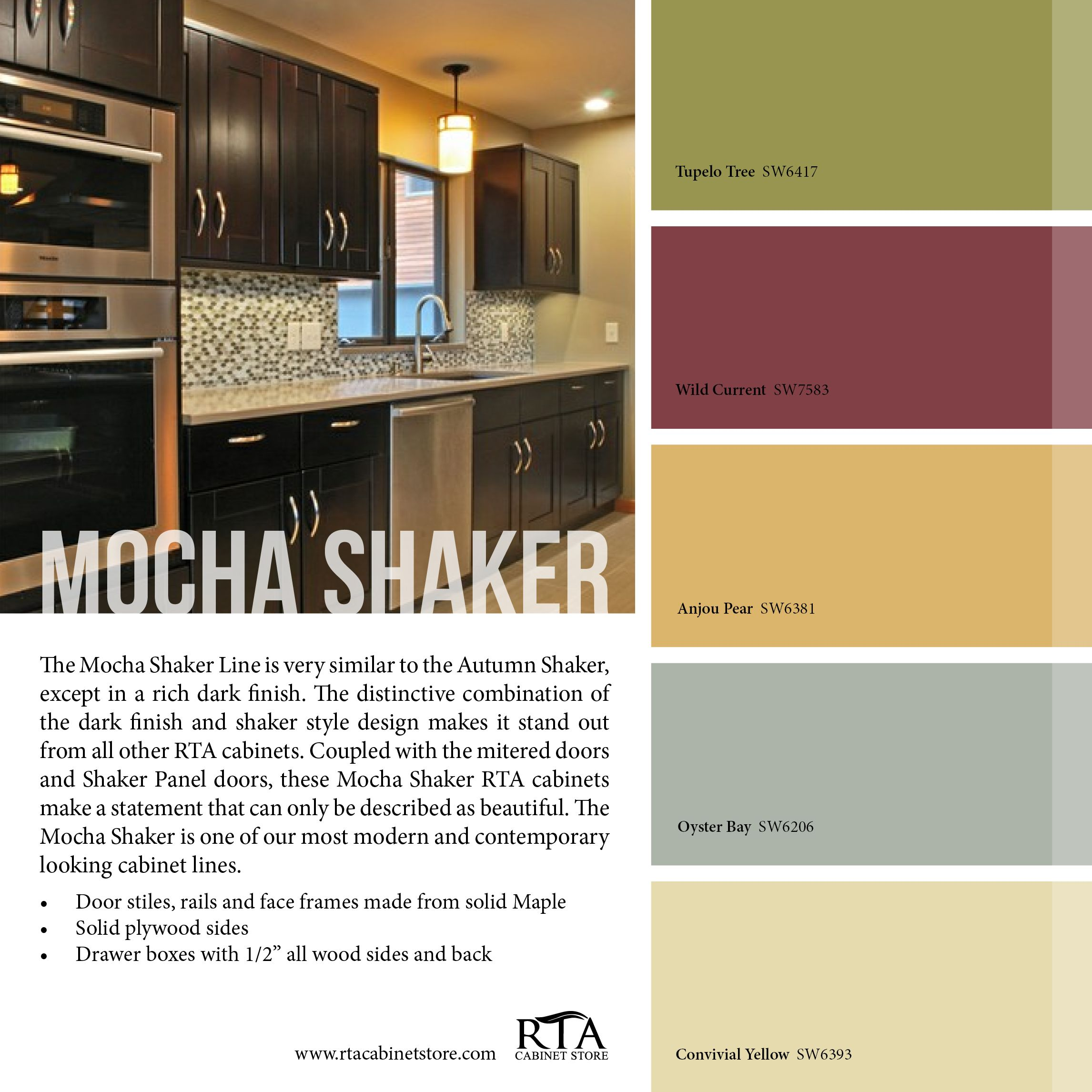 Color Palette to go with our Mocha Shaker kitchen cabinet line ...