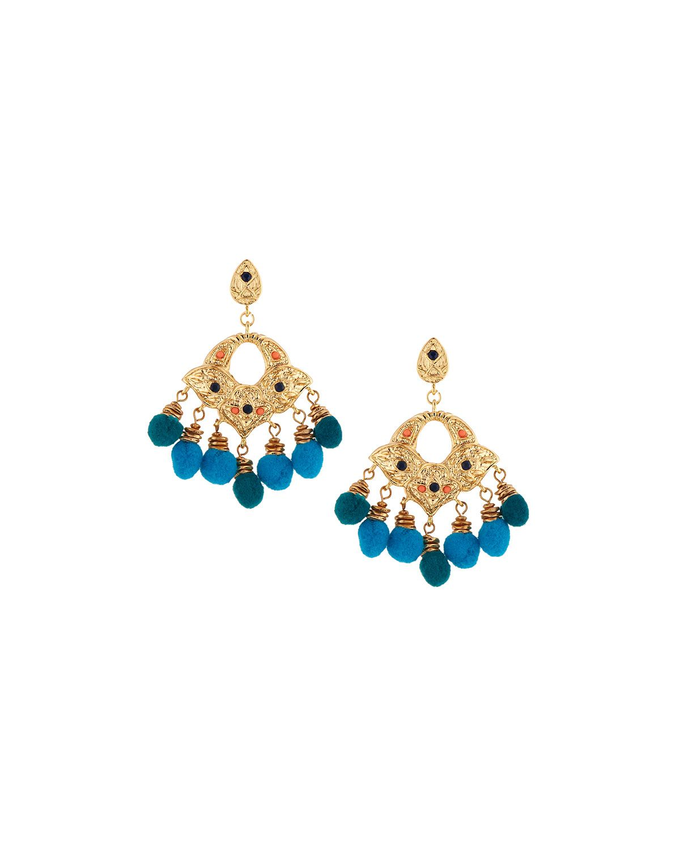 Lydell NYC Golden Double-Drop Pom-Pom Earrings, Multi