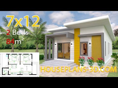 House Plans 7x10 With 3 Bedroomsthe House Has Car Parking And Garden Living Room Dining Room K In 2020 Small House Design Plans Small House Design Simple House Plans