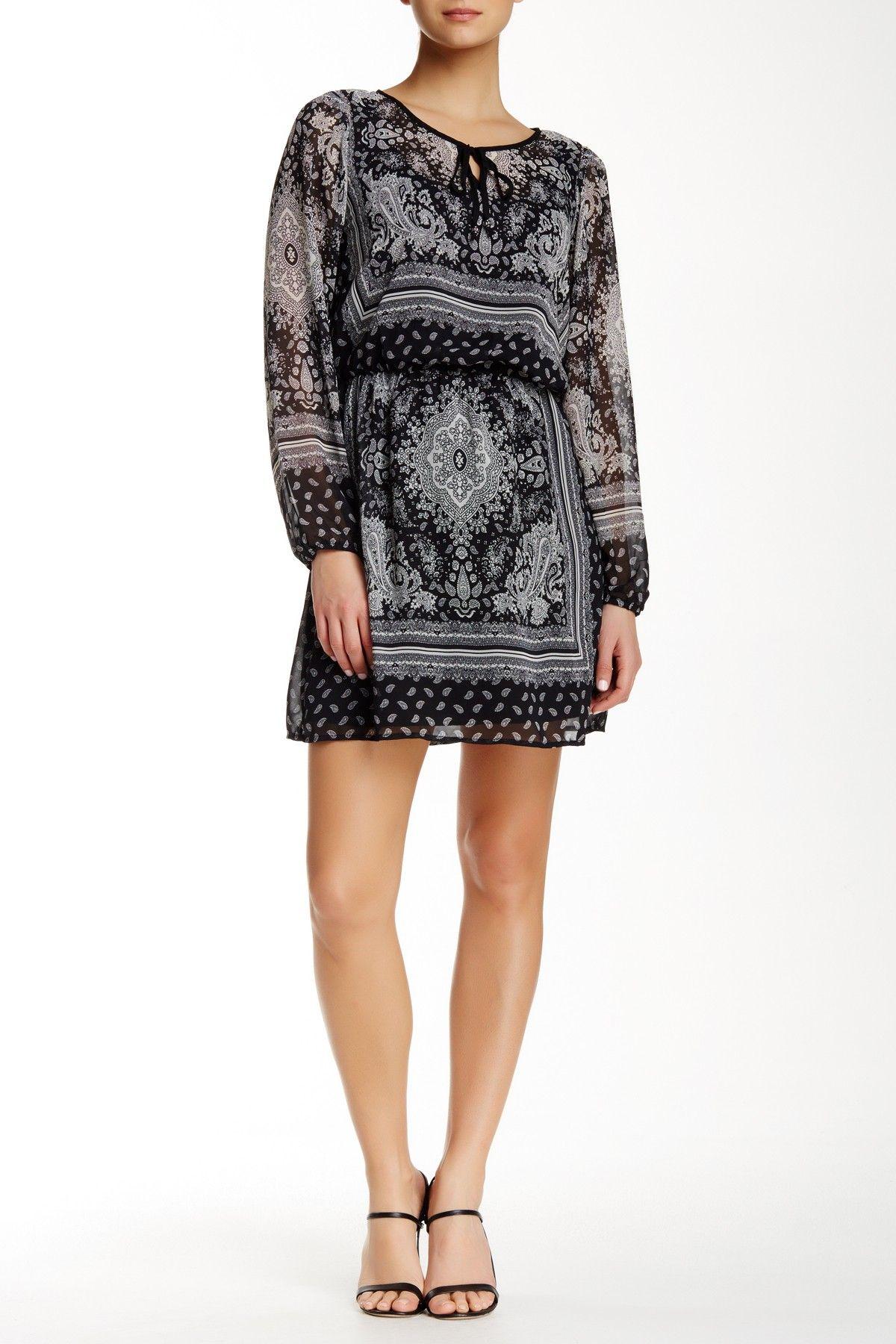 Long Sleeve Printed Chiffon Dress by BE BOP on @nordstrom_rack