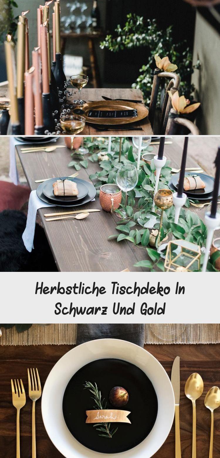 Herbstliche Tischdeko In Schwarz Und Gold #herbstlichetischdeko