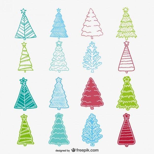 Colección de dibujos de árboles de Navidad de colores Vector Gratis ...