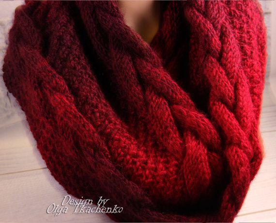 Beautiful knit Vinous and Red ombre snood , originally designed and hand knitted by me. Soft, gentle, not prickly and very, very warm. I mixed a few yarns to produce the effect of gradient (smooth color transitions) The scarf will keep you warm in the cold winter. It can be a perfect gift for Valentines Day.  MATERIAL: wool sheep, wool camel, acrylic yarn  COWL SIZE: Length 34.2 inches (87 cm) folded, 68.9 inches (175 cm) in the unfolded. Width 11,8 inches (30 cm)  READY TO SHIP!  Available…