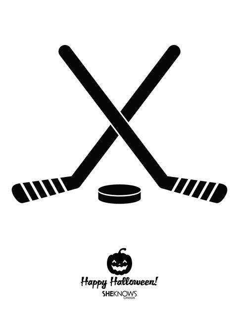 Hockey Sticks And Puck Pumpkin Stencil Hockey Pumpkin Hockey Pumpkin Carving Hockey Halloween