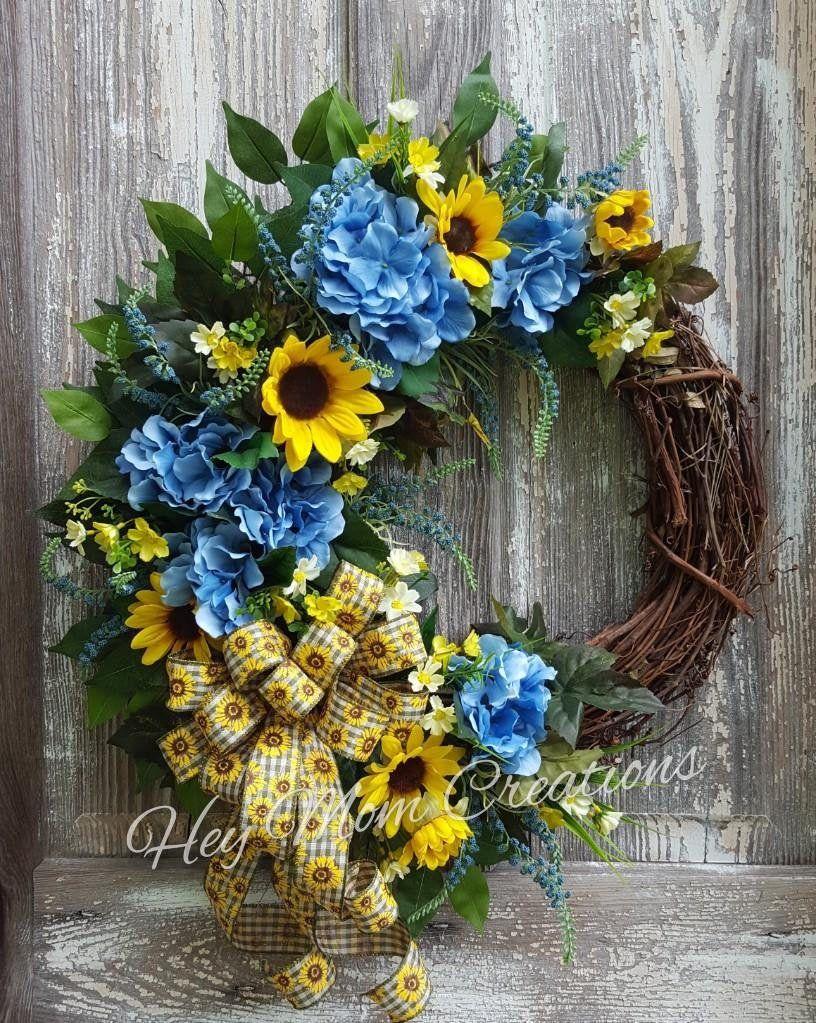Photo of Hydrangea Sunflower wreath, Fall hydrangea wreath, Sunflower wreath, Wreath for front door
