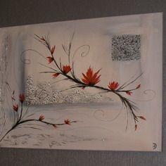 Tableau abstrait acrylique branche de printemps vendu - Peinture facile a reproduire ...
