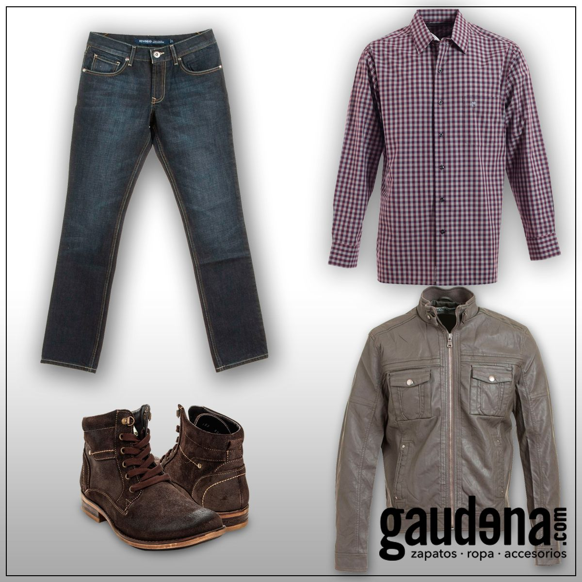 #moda #look #outfit #denim #boots #casual #plaids #hombre