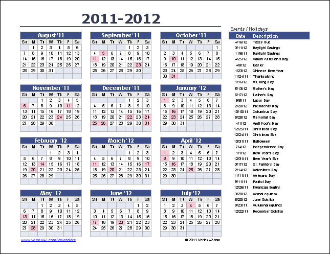 Download The Yearly Event Calendar From VertexCom  Stuff To